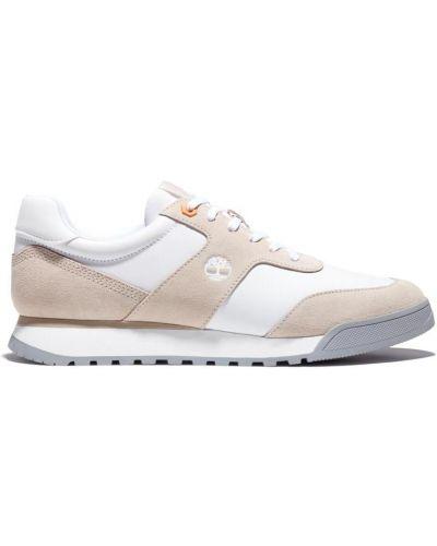 Кожаные белые кроссовки на шнурках Timberland