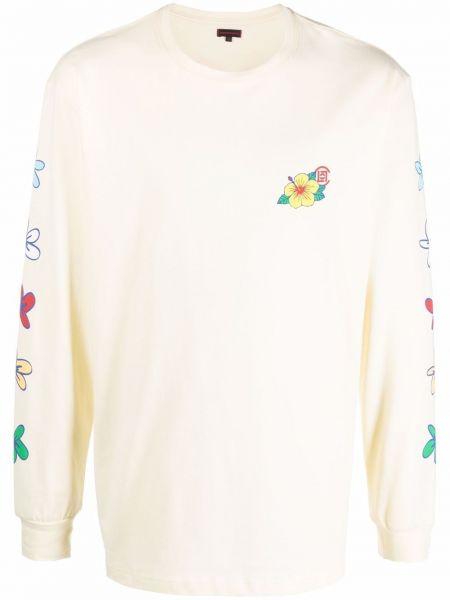 Biały długi sweter bawełniany z printem Clot