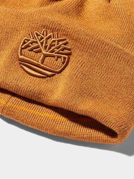Акриловая желтая шапка с вышивкой Timberland