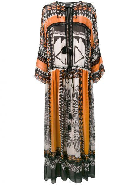 Шелковое черное расклешенное платье макси с кисточками Alberta Ferretti