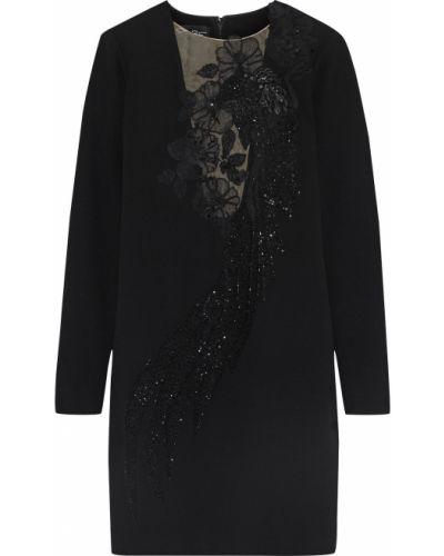 Шерстяное черное платье мини с пайетками Oscar De La Renta