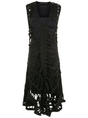 Платье миди с V-образным вырезом - черное Gloria Coelho