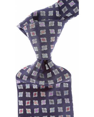 Krawat srebrny - niebieski Raffaello