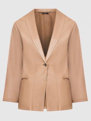 Кожаный бежевый пиджак Armani