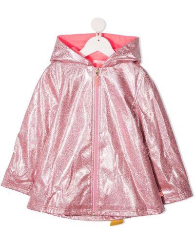 Розовый прямой плащ классический на молнии с капюшоном Billieblush