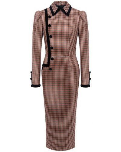 Бежевое платье-футляр с длинными рукавами в клетку Alessandra Rich
