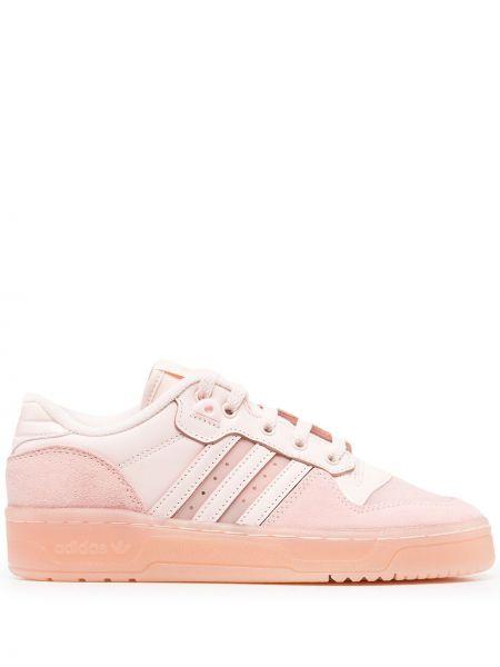 Ażurowy włókienniczy różowy top z paskami Adidas