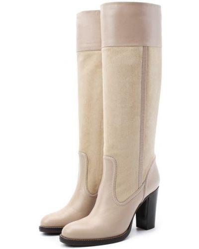 Бежевые кожаные сапоги с подкладкой Chloé