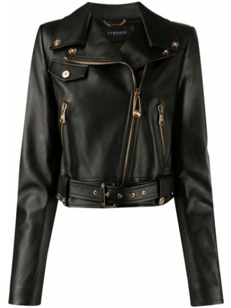 Черная кожаная длинная куртка байкерская Versace