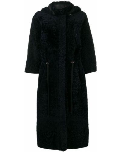 Черное длинное пальто с капюшоном Inès & Maréchal