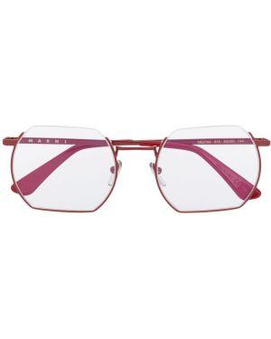 Очки квадратные металлические хаки Marni Eyewear