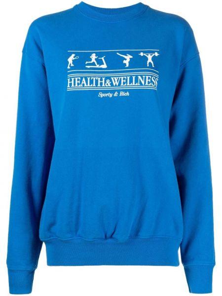 Niebieska bluza długa bawełniana z długimi rękawami Sporty And Rich