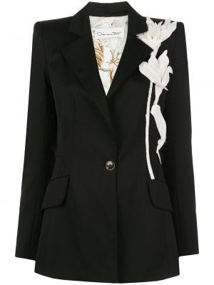 Черный удлиненный пиджак на пуговицах с лацканами с подкладкой Oscar De La Renta