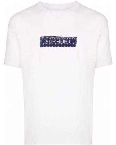 Белая хлопковая футболка свободного кроя с нашивками Sophnet.