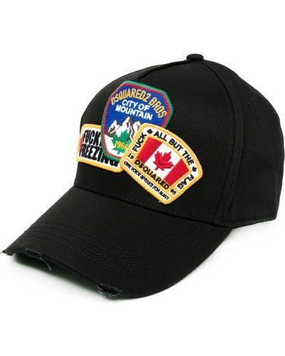 Bawełna bawełna czarny czapka z daszkiem z haftem Dsquared2