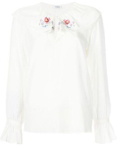 Блузка с длинным рукавом с вышивкой с цветочным принтом шелковая Vilshenko