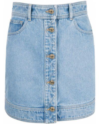 Приталенная синяя юбка мини с поясом на пуговицах Hilfiger Collection