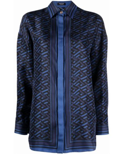 Синяя рубашка длинная Versace
