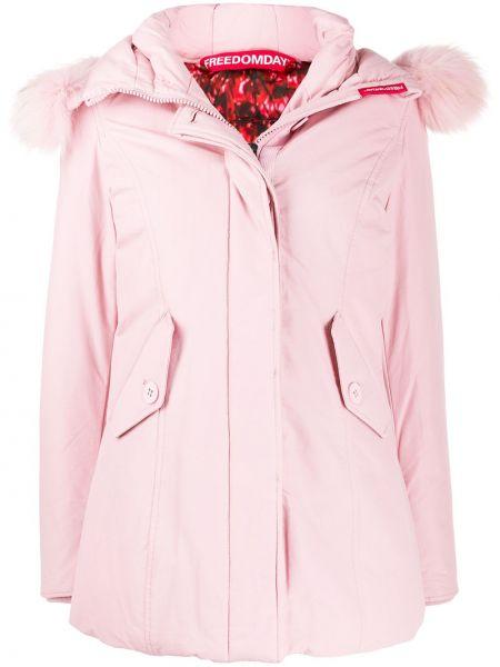 Прямая розовая куртка с капюшоном из искусственного меха Freedomday