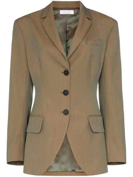 Зеленая куртка на пуговицах с воротником с лацканами Delada