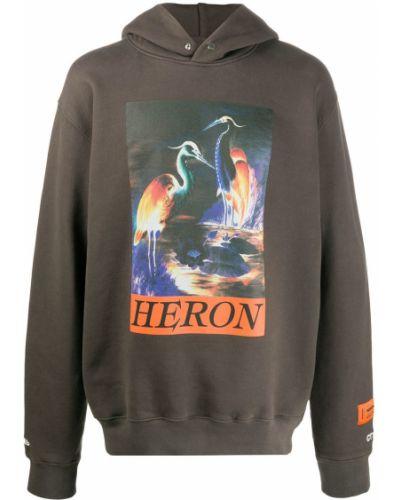Pomarańczowa bluza długa z kapturem z długimi rękawami Heron Preston