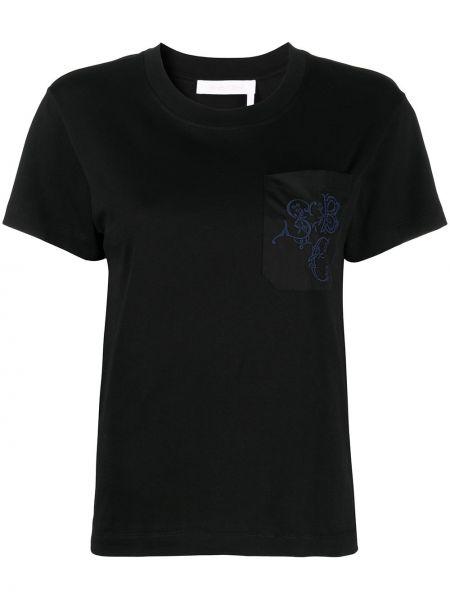 Хлопковая с рукавами черная футболка See By Chloé