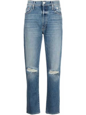 Синие прямые джинсы классические с карманами Mother