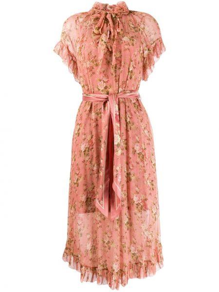 Платье с поясом розовое с завышенной талией Zimmermann