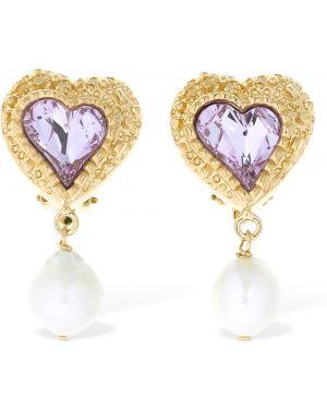 Różowe złote kolczyki sztyfty perły Saf Safu