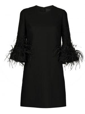 Шелковое платье на молнии с перьями с вырезом Valentino