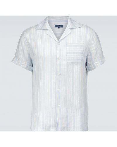 Niebieska lniana koszula w paski Frescobol Carioca