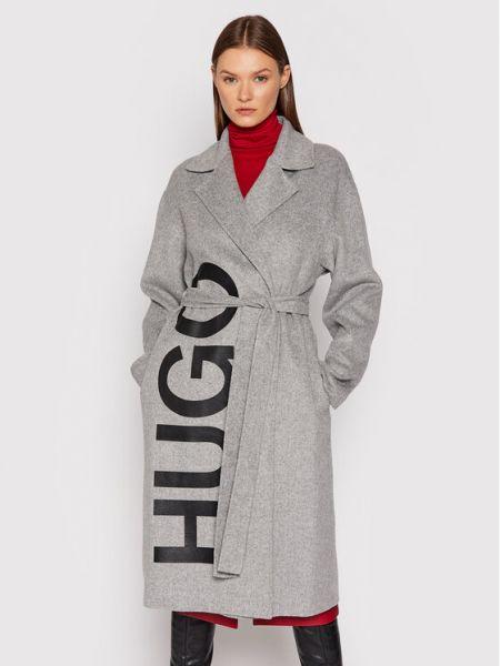 Płaszcz wełniany - szary Hugo