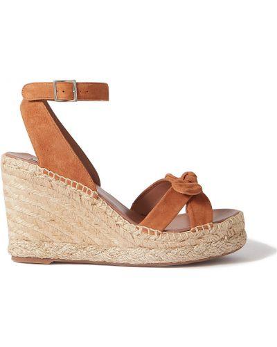 Brązowe sandały na koturnie zamszowe Tabitha Simmons