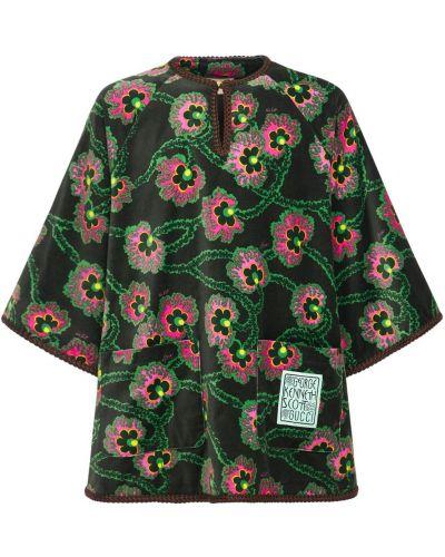 Aksamit koszula z haftem z kołnierzem Gucci