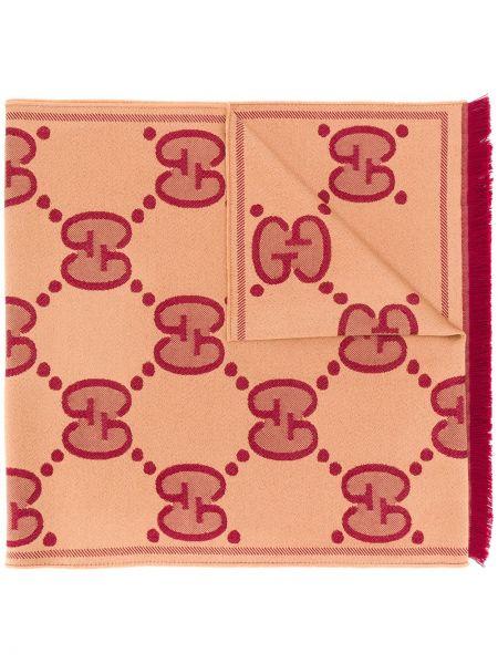 Prążkowany beżowy szalik wełniany Gucci