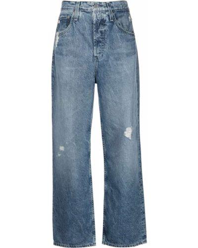 Широкие джинсы с завышенной талией - синие Ag Jeans