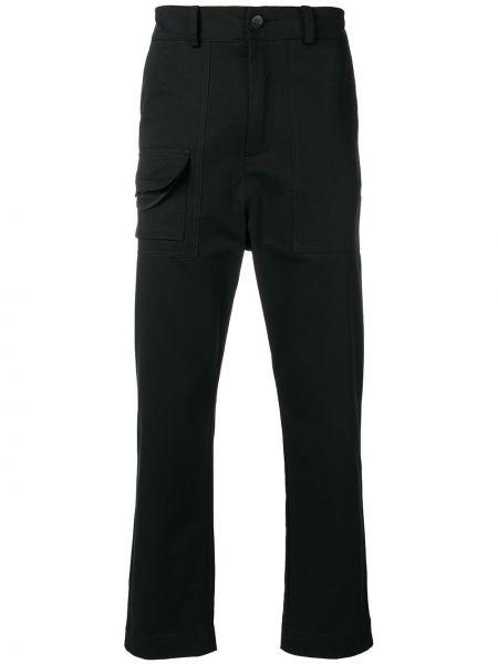 Черные прямые брюки с поясом на пуговицах новогодние Damir Doma