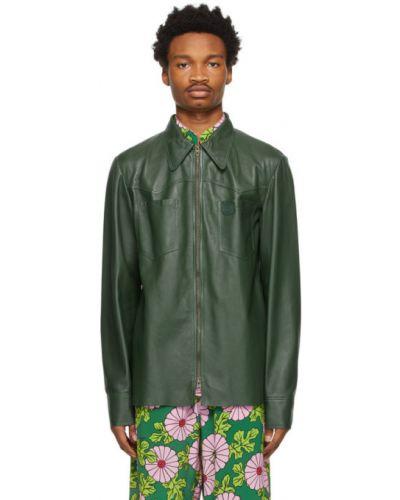 Zielona koszula z długimi rękawami skórzana Gucci