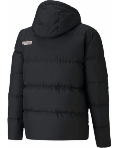 Пуховая черная куртка с капюшоном с надписью на молнии Puma
