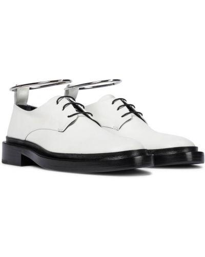 Biały buty brogsy z prawdziwej skóry Jil Sander