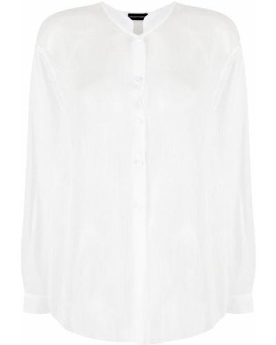 Белая рубашка с воротником-стойка на пуговицах Emporio Armani