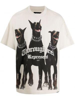 Beżowa T-shirt z nadrukiem z printem Represent