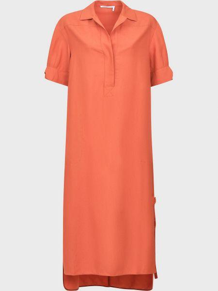 Платье на пуговицах - оранжевое Agnona