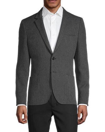 Черное длинное пальто с карманами на пуговицах Hugo Hugo Boss