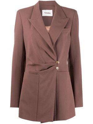 Коричневый приталенный удлиненный пиджак с карманами Nanushka