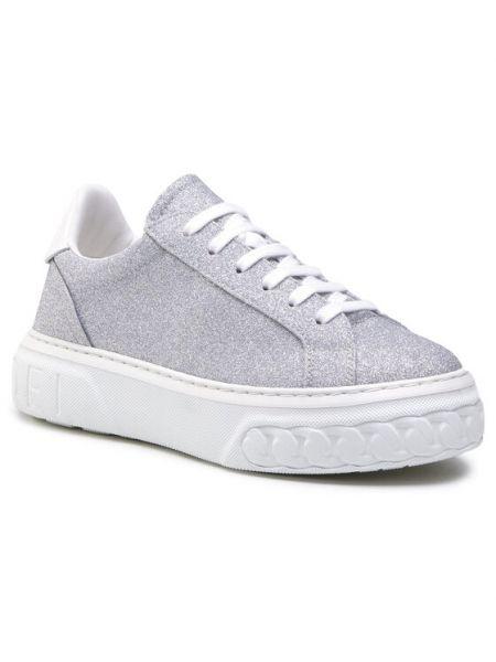 Sneakersy srebrne Casadei