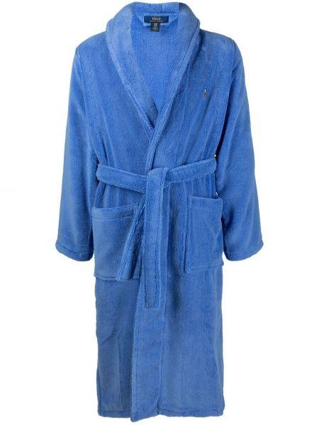 Niebieski długi szlafrok bawełniany z haftem Polo Ralph Lauren