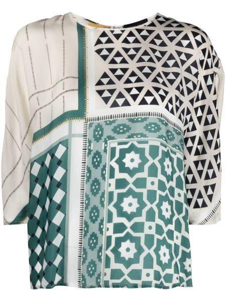 Зеленая блузка с короткими рукавами с вырезом Roberto Collina