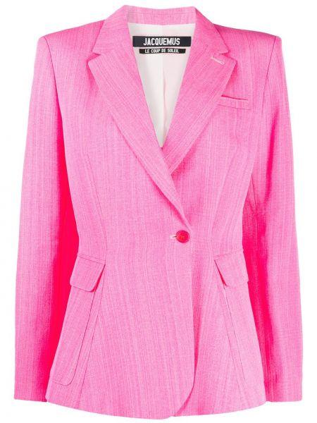 Розовый приталенный пиджак с карманами Jacquemus
