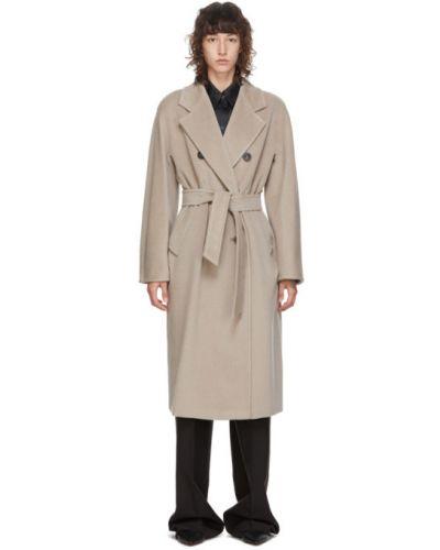 Желтое шерстяное длинное пальто с поясом с воротником Max Mara